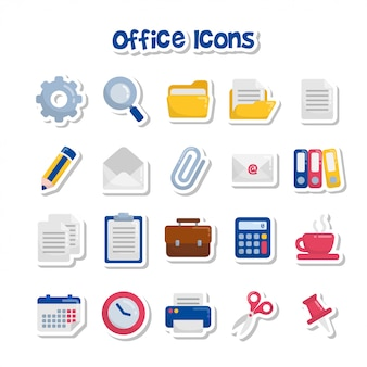 Etiquetas engomadas lindas del icono de la oficina de la historieta