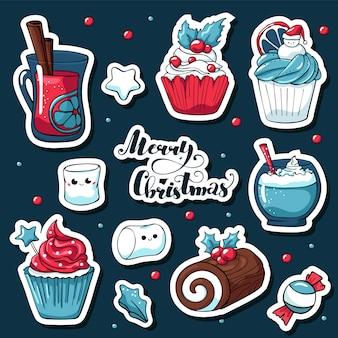 Etiquetas engomadas lindas de la navidad del doodle en estilo de dibujos animados con letras