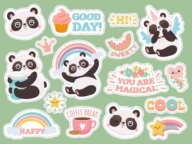 Etiquetas engomadas lindas de la panda.