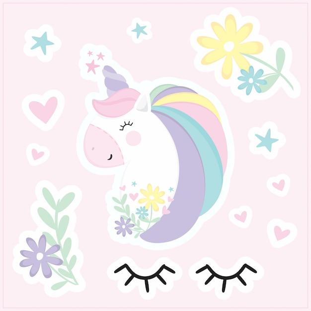 Etiquetas engomadas lindas del unicornio