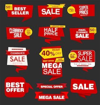 Etiquetas engomadas modernas de la venta, etiquetas, pancartas e insignias