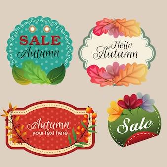 Etiquetas engomadas del otoño con la ilustración coloreada de las hojas