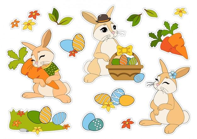 Etiquetas engomadas de pascua con conejos, huevos de pascua, flores, zanahorias aisladas sobre fondo blanco.