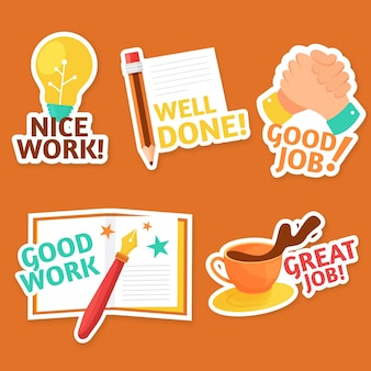 Etiquetas engomadas planas de buen trabajo y gran trabajo