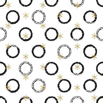 Etiquetas engomadas redondas del regalo de oro del año nuevo de la navidad.