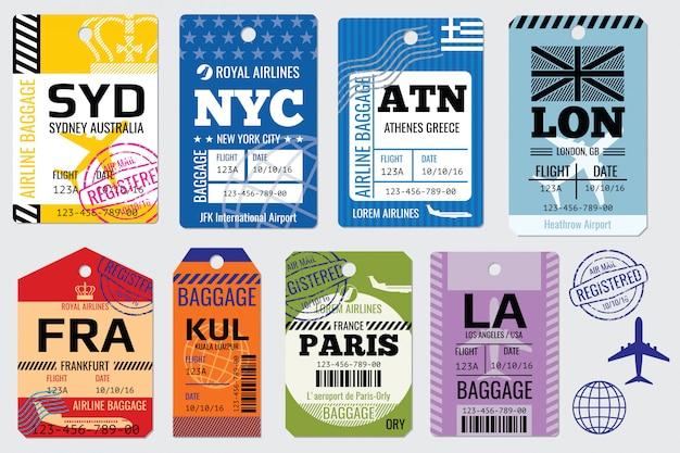 Etiquetas de equipaje retro y stock de viaje