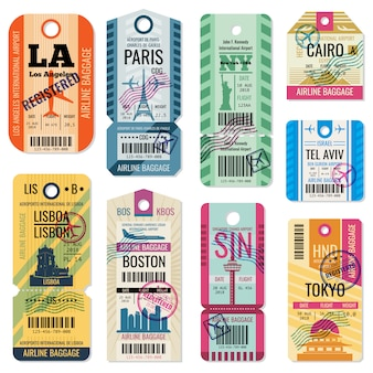 Etiquetas de equipaje de viaje retro y boletos de equipaje con la colección de vector de símbolo de vuelo