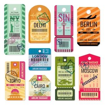 Etiquetas de equipaje vintage y conjunto de vectores de etiquetas de equipaje