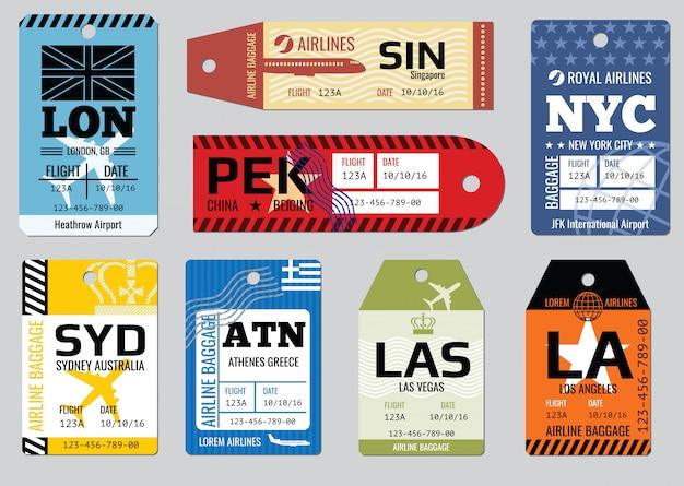 Etiquetas de equipaje vintage
