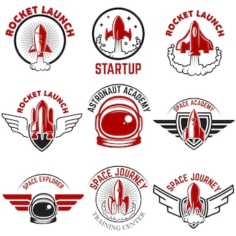 Etiquetas espaciales. lanzamiento del cohete, academia de astronautas. elementos para logotipo, etiqueta, emblema, signo. ilustración.