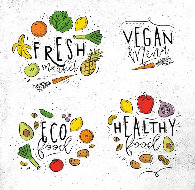 Etiquetas estilo ecológico con frutas y verduras.