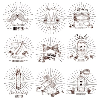 Etiquetas de estilo hipster de barbería