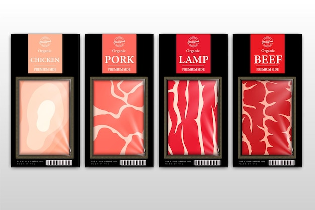 Etiquetas de estilo moderno de carnicería cortes estadounidenses de carne de res, pollo, cerdo y cordero