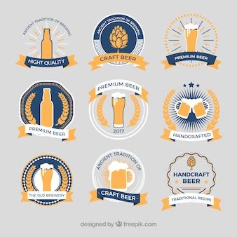Etiquetas de estilo retro de la cerveza