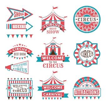 Etiquetas en estilo retro. logos para el entretenimiento del circo.