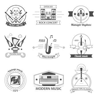 Etiquetas de estilos de música en blanco y negro