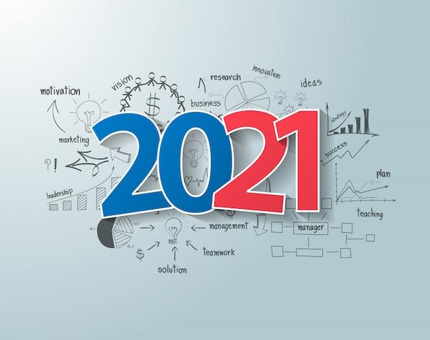 Etiquetas etiqueta 2021 diseño de texto de año nuevo, pensamiento creativo, dibujo, tablas y gráficos de negocios