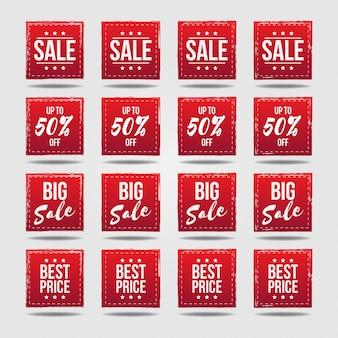 Etiquetas de etiqueta de venta en colección de insignias de estilo grunge 50%