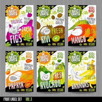 Las etiquetas de las etiquetas engomadas de los alimentos establecen frutas de estilo boceto colorido, diseño de paquete de verduras de especias.