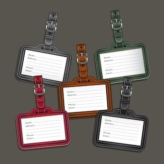 Etiquetas de etiquetas de equipaje de cuero.