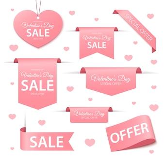 Etiquetas y etiquetas de venta del día de san valentín
