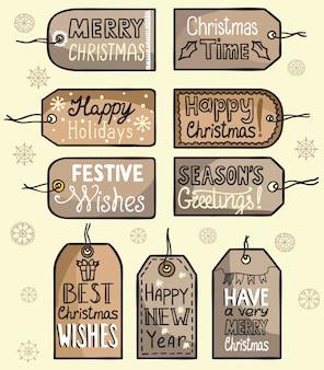 Etiquetas de felicitación navideña, decoración para tus regalos.