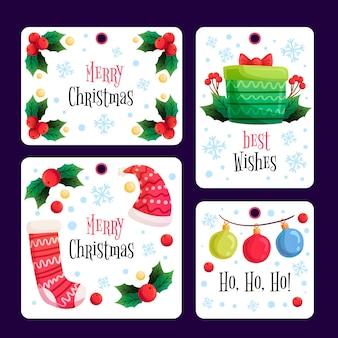 Etiquetas de feliz navidad dibujadas a mano