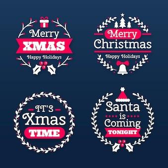 Etiquetas de feliz navidad de diseño plano