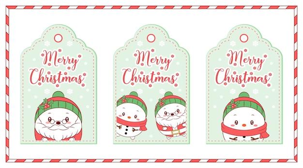 Etiquetas de feliz navidad lindo dibujo de santa claus y muñeco de nieve para las vacaciones de la temporada de invierno