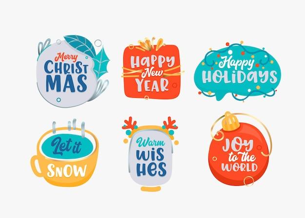 Etiquetas de feliz navidad y próspero año nuevo en blanco