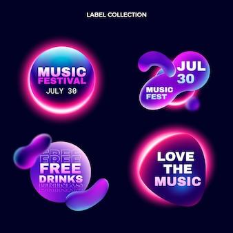 Etiquetas de festival de música colorido degradado