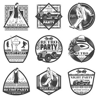 Etiquetas de fiesta retro monocromáticas vintage con gente bailando coche clásico accesorios femeninos copa de vino disco de vinilo aislado