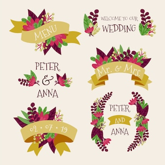 Etiquetas florales de la boda