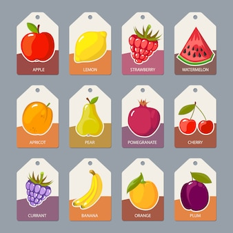 Etiquetas de frutas. comida sana fresca manzanas naranjas