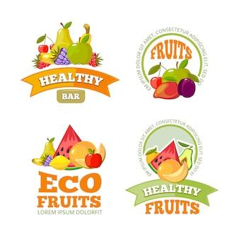 Etiquetas de frutas de dibujos animados.