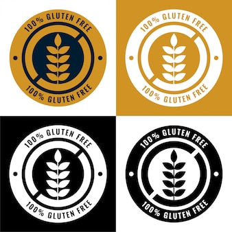 Etiquetas sin gluten y conjunto de iconos de símbolo