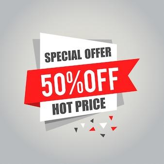 Etiquetas de gran venta con venta 50% por ciento de texto en etiquetas de etiqueta cuadrada - eps10 vector