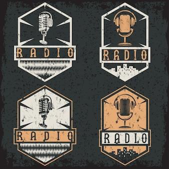 Etiquetas grunge vintage de radio con micrófono y auriculares