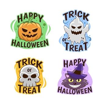 Etiquetas de halloween dibujadas a mano