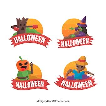 Etiquetas de halloween con diseño plano