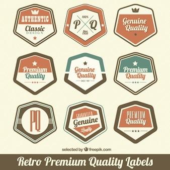 Etiquetas hexagonales de calidad