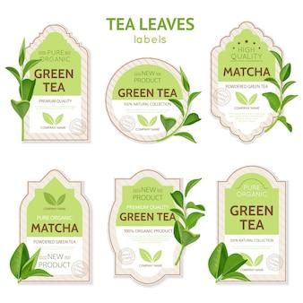 Etiquetas de hojas de té realistas