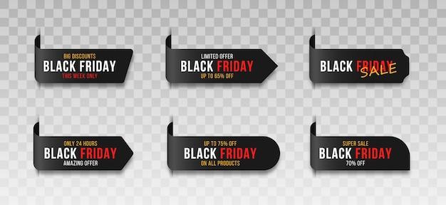 Etiquetas insignias para etiquetas de venta del mercado de viernes negro etiquetas de signo de ventas de compras