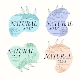 Etiquetas de jabón con hojas