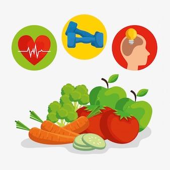 Etiquetas con latidos del corazón y pesas para un estilo de vida saludable
