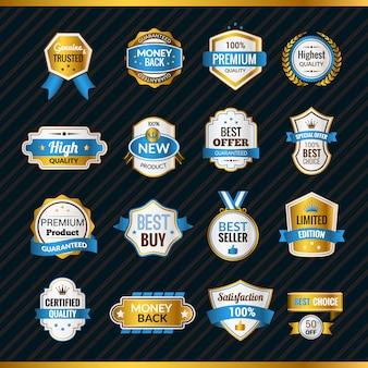 Etiquetas de lujo oro y azul