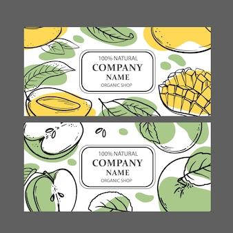 Etiquetas de mango verde de mango