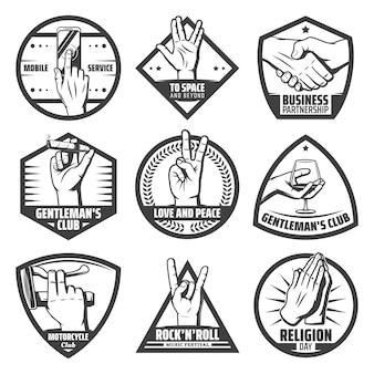 Etiquetas de manos vintage con apretón de manos táctil móvil saludo saludo rock cabra paz orando instrumento cigaro copa de vino mantenga gestos aislados