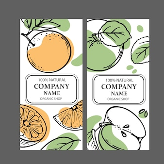 Etiquetas de manzana naranja