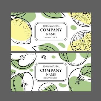 Etiquetas de manzana verde limón